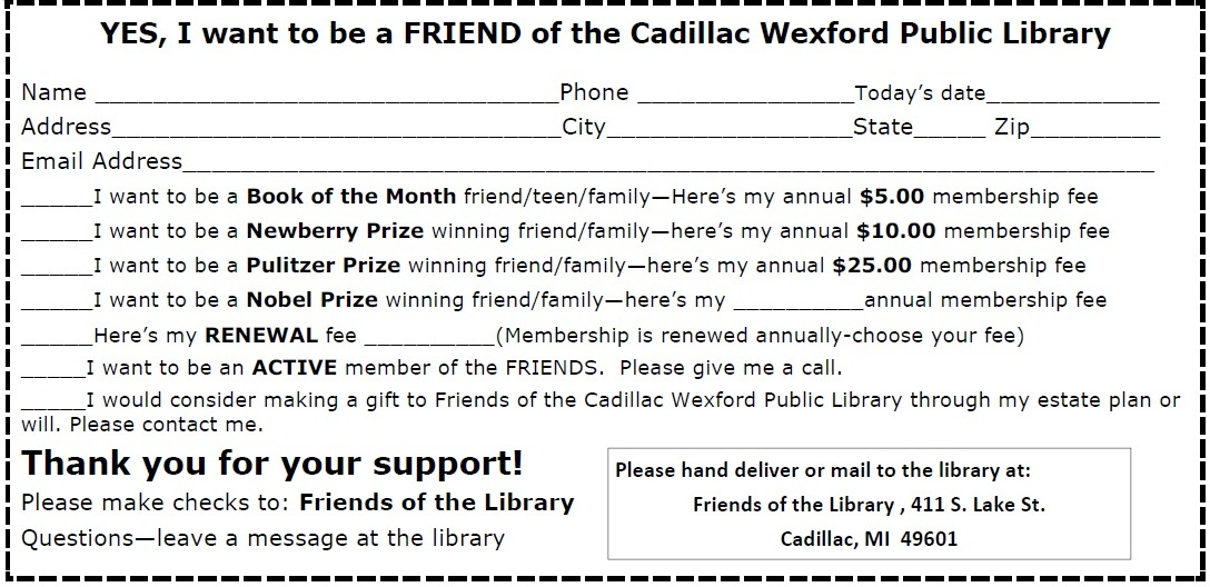 Friends Of The Cadillac Library Service To The Library And - Cadillac wexford